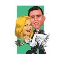 Caricatura sposi in braccio