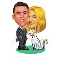 Caricatura sposi in piedi