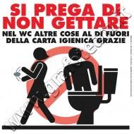Cartello divieto non gettare nel WC